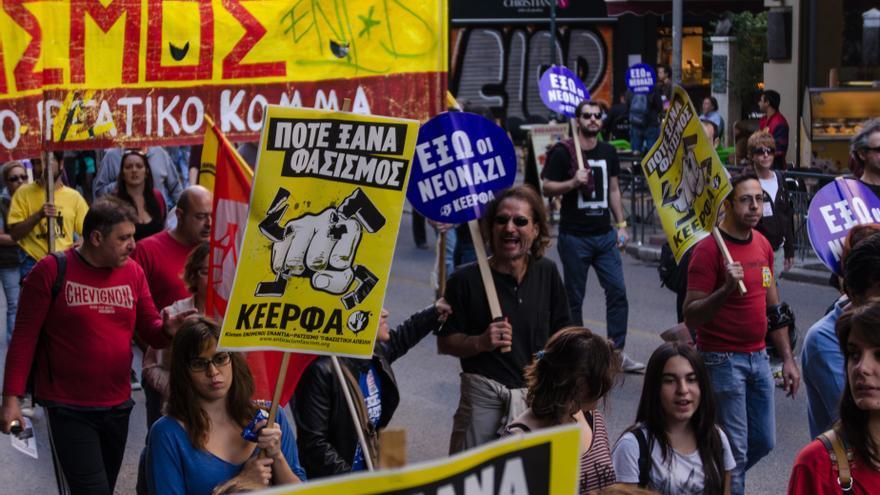 Un grupo de manifestantes durante una concentración antirracista en 2013. Foto: Clara Palma Hermann