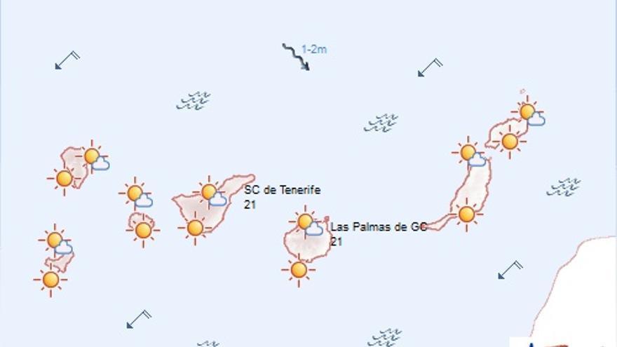 Mapa del tiempo de la Aemet para este martes, 17 de noviembre de 2015.