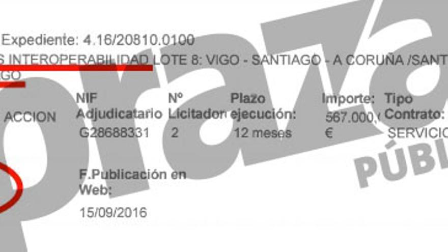 Adjudicación en octubre de 2016 de la evaluación de la interoperabilidad de la línea de AVE Ourense-Santiago