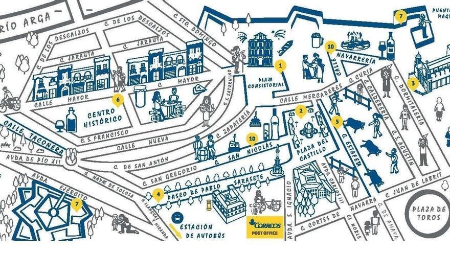 Correos edita un mapa que anima a los peregrinos a for Oficina correos pamplona