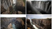 El antes y el después de las cataratas Victoria, que sufren la peor sequía del siglo