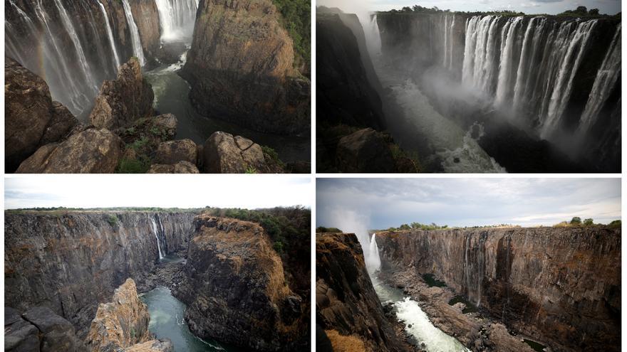 Antes y después de las cataratas Victoria (Zimbabwe). / Reuters