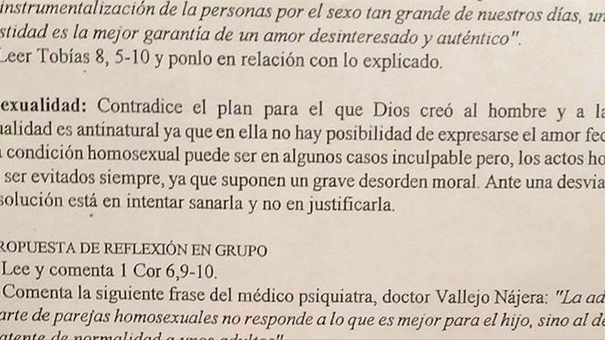 Texto sobre la homosexualidad