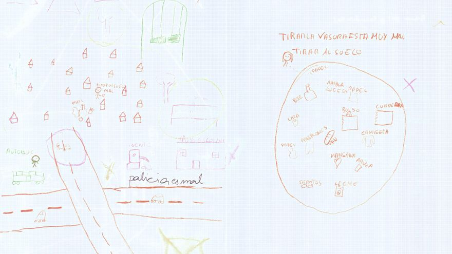 """El dibujo de una niña de El Gallinero: a la derecha rodea en rojo la basura y escribe """"la policía es mal""""./ Save the Children."""