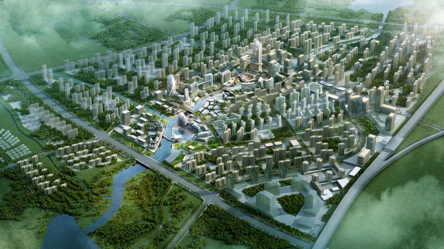 Imagen 3D del futuro desarrollo de la ciudad de Huashan (China) donde participará Calatrava / AECOM
