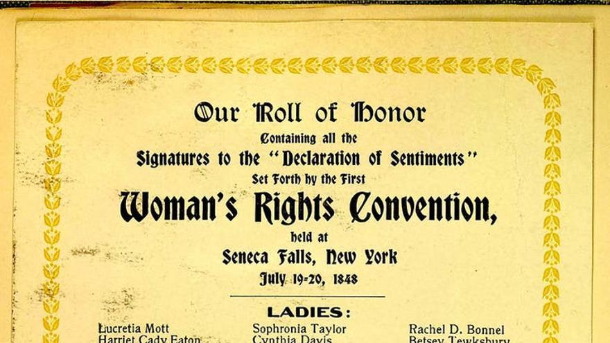 Lista de mujeres y hombres que firmaron la Declaración de Sentimientos en la primera Convención de los Derechos de la Mujer, Seneca falls, New York, 19-20 de julio de 1848. El nombre de Eunice Newton Foote figura quinto de la columna de la izquierda.