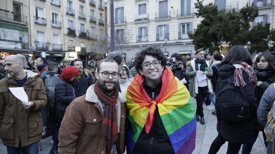 Manifestación del jueves 23 de enero en la plaza Pedro Zerolo contra el 'veto parental'.