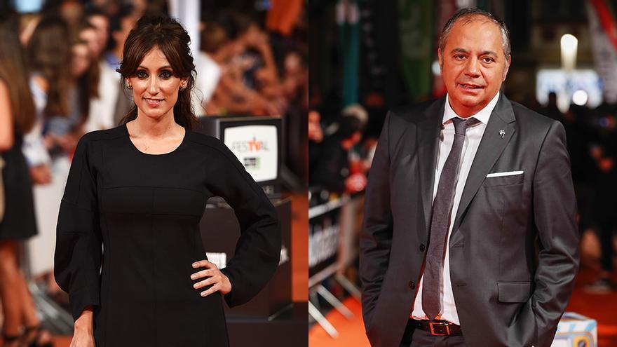 Ana Morgade y Pepe Colubi, posando ante los medios en el FesTVal