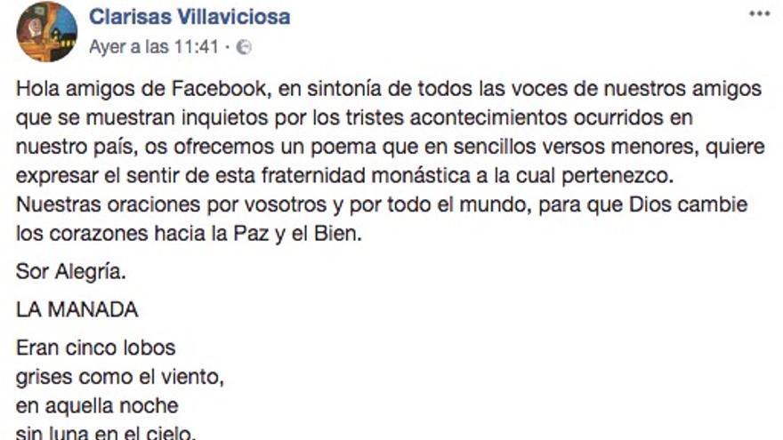 El post de Facebook con el poema de las Clarisas de Villaviciosa en apoyo a la víctima de 'la manada'