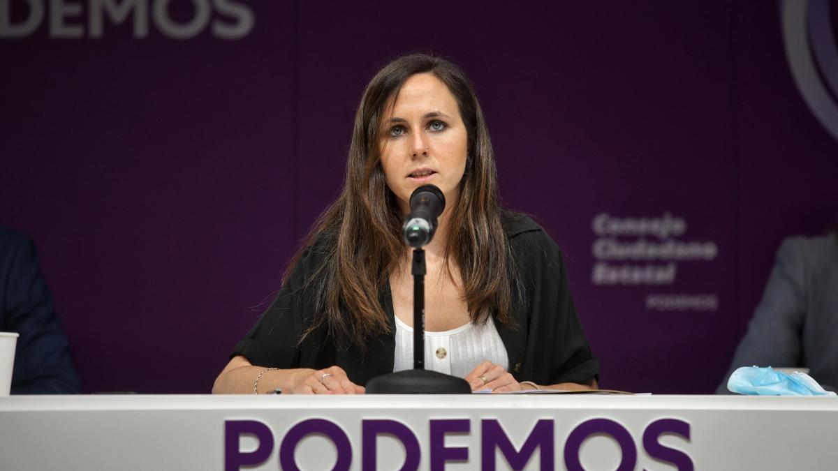 La secretaria general de Podemos, Ione Belarra, durante su primer discurso ante el Consejo Ciudadano.