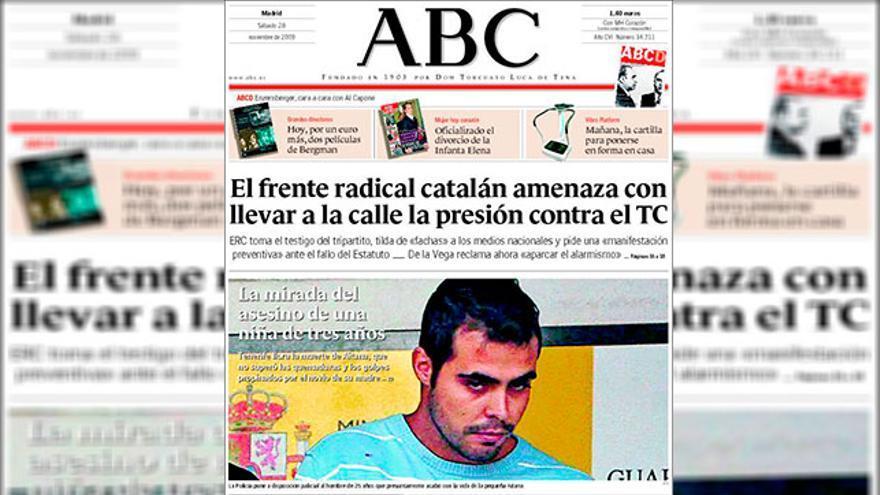 Portada del 'ABC' llamando asesino al novio de la madre de Aitana, el día que fue detenido.