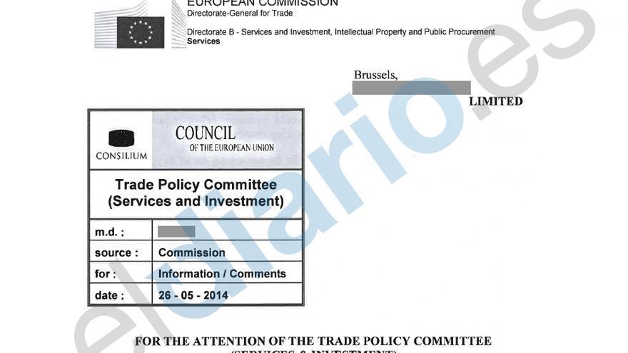 Primera página del borrador del TTIP que maneja la Comisión de Servicios e Inversión de la UE