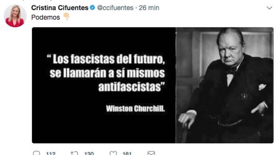 Tuit de Cristina Cifuentes