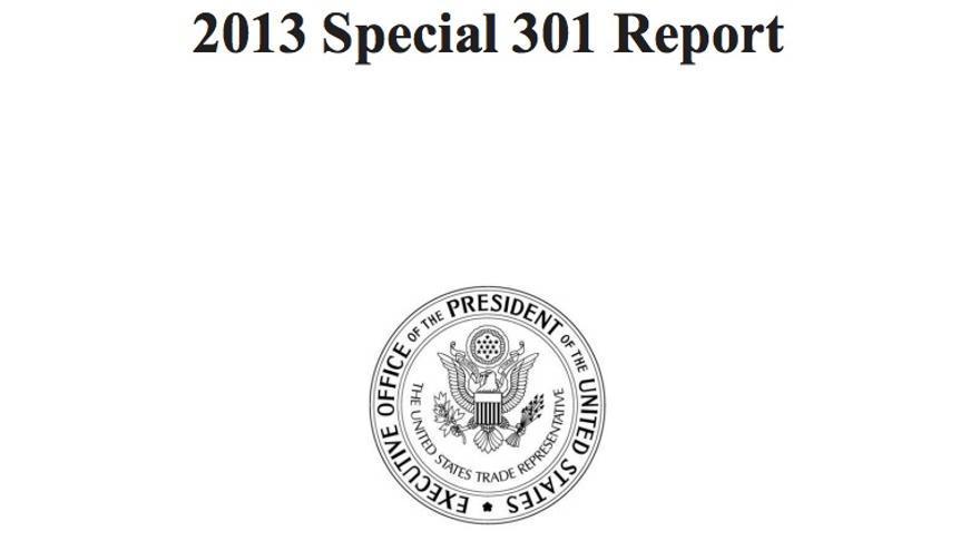 Portada del Informe 301 de 2013 de la Oficina de Comercio de EEUU