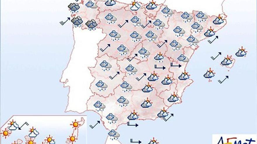 Lluvias en Galicia y Castilla y León y viento fuerte en interior de Valencia