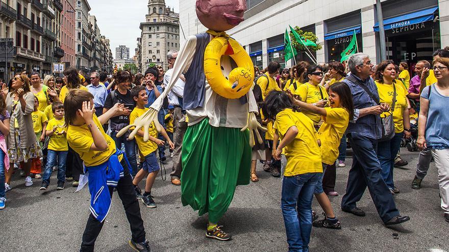 Imatge de la manifestació de la darrera vaga d'educació. /CARMEN SECANELLA
