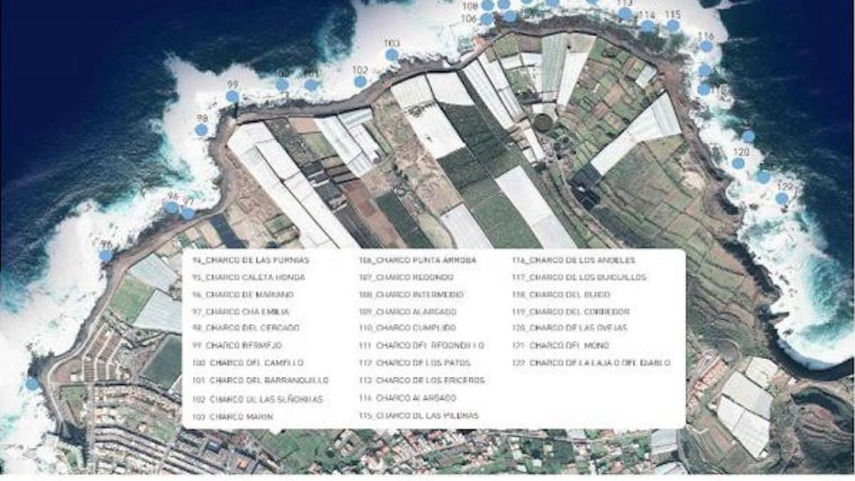 Ubicación de los charcos en Punta del Hidalgo