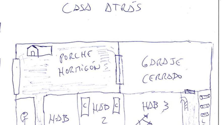 Mapa de la casa de Alcanar que hizo uno de los jóvenes de Castellón