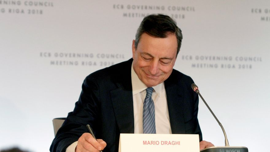Mario Draghi, tras la reunión del BCE.