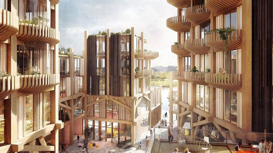 """Representación de la línea de costa en Toronto, un proyecto liderado por Sidewalk Labs y que pretende ser """"el primer distrito de madera en el mundo""""."""