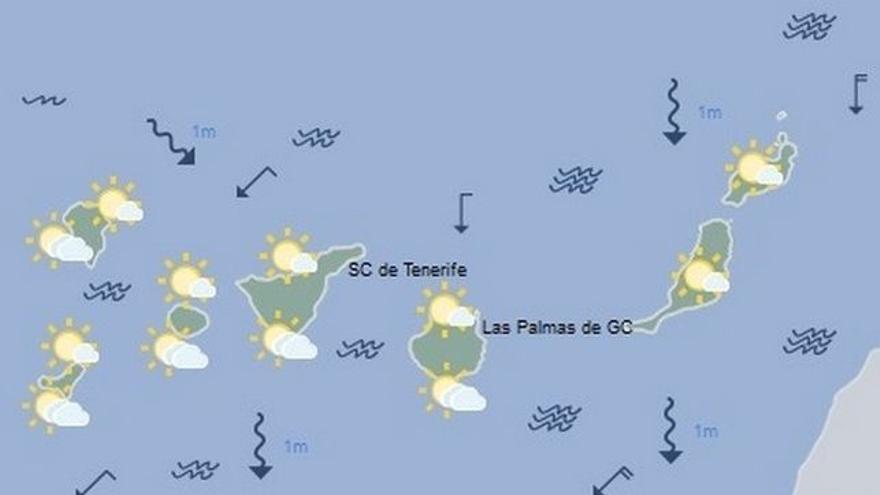 Mapa con la previsión meteorológica para este lunes, 24 de abril de 2017