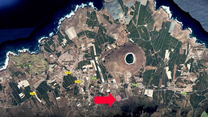 Emplazamiento previsto para la EDAR. Infografía de A. V. Las Canteras-Taco (vía www.dautedigital.es)
