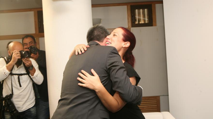 Clavijo y Patricia Hernández en la toma de posesión de Clavijo (ALEJANDRO RAMOS)