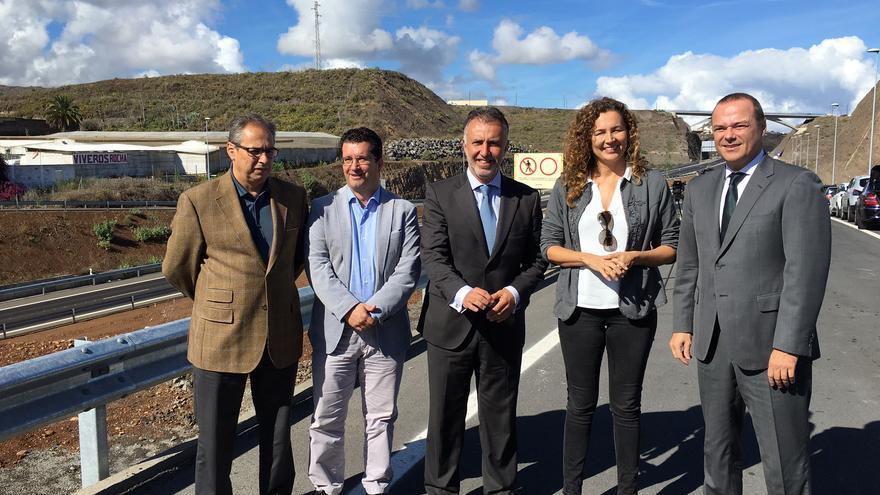 Visita de los políticos a las obras de la IV Fase de la Circunvalación de Las Palmas de Gran Canaria