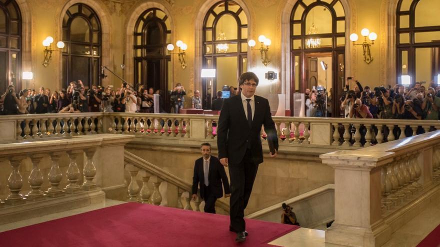 El president de la Generalitat, a su llegada al Parlament de Catalunya.