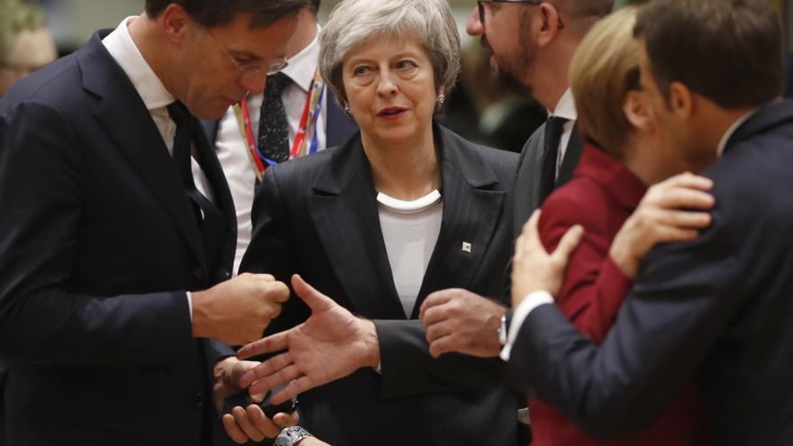 MArk Rutte, Theresa May, Emmanuel Macron y Angela Merkel.