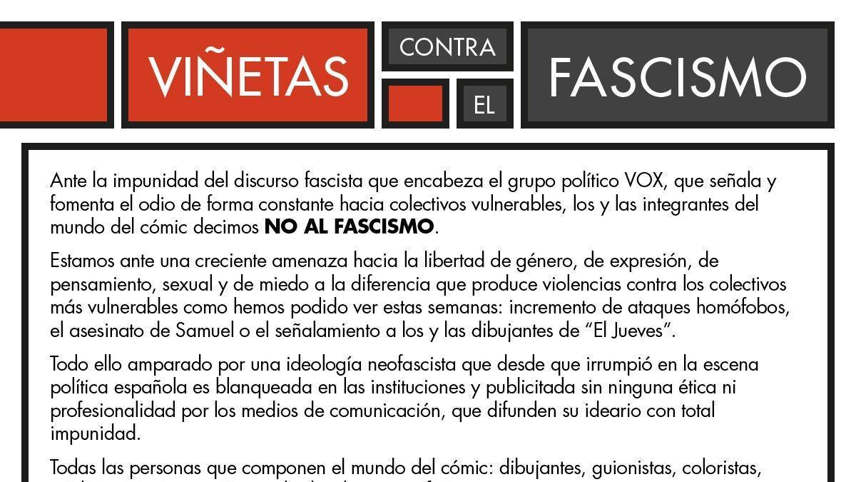 Captura del manifiesto 'Viñetas contra el fascismo'