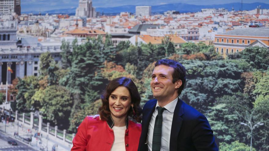 Pablo Casado e Isabel Díaz Ayuso, durante la presentación de esta última como candidata a la Comunidad de Madrid.