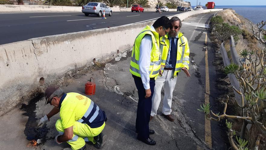 Reparaciones del carril de entrada a Las Palmas de Gran Canaria
