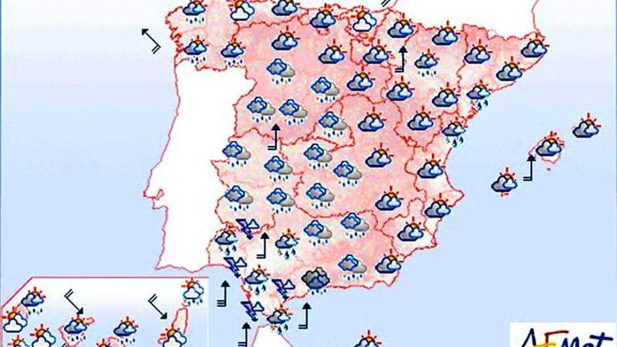 Hoy, muy nuboso con lluvias, salvo en el Cantábrico y el sur de Canarias