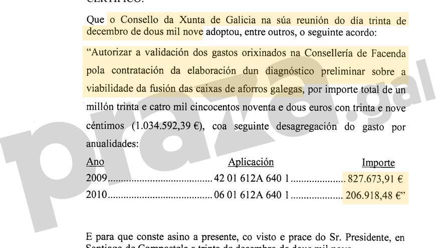 Fragmento del certificado que acredita la autorización del pago a KPMG el 30 de diciembre de 2009