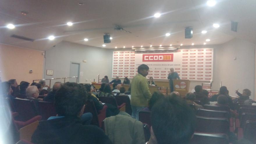 Imagen del plenario de València en Comú celebrado en la sede de CCOO