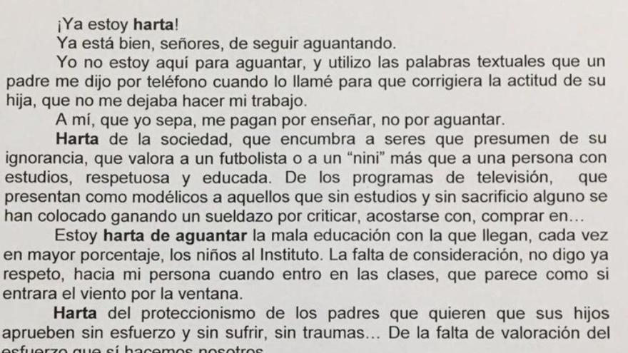 Carta de la profesora Eva María Romero en la que denuncia su hartazgo.