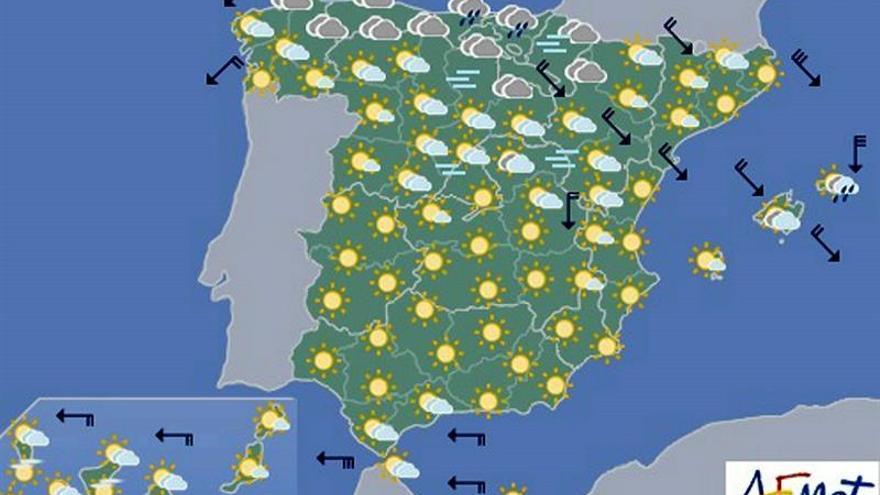 Hoy, temperaturas bajas y heladas en interior peninsular y Mallorca