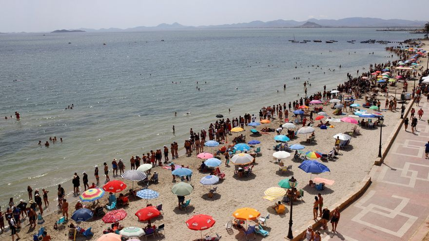 Miles de personas dan un abrazo simbólico al Mar Menor, de luto por la fauna muerta