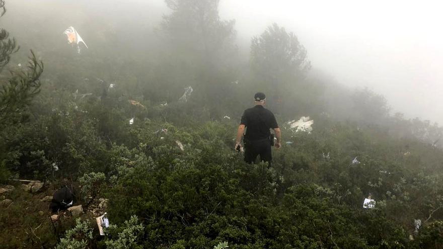Trabajos de búsqueda de los restos de la avioneta siniestrada