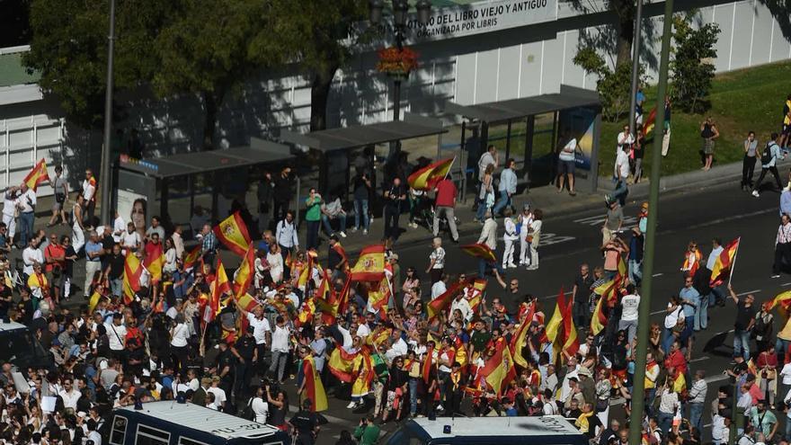 Encuentro entre las dos manifestaciones celebradas en Madrid