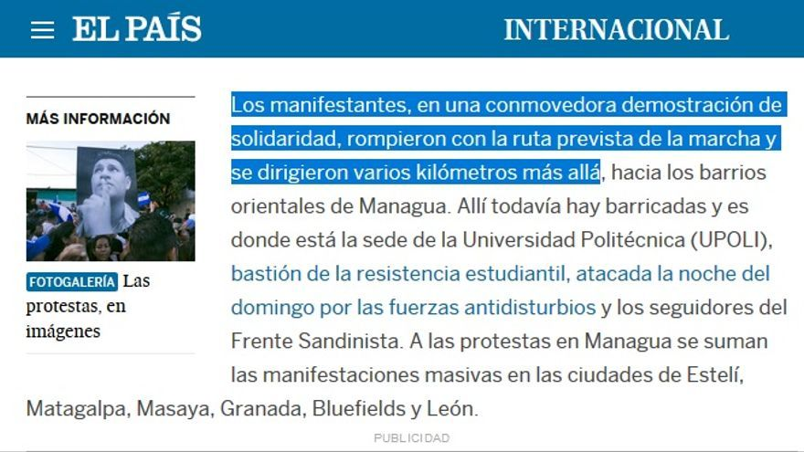 Nicaragua manifestantes solidarios