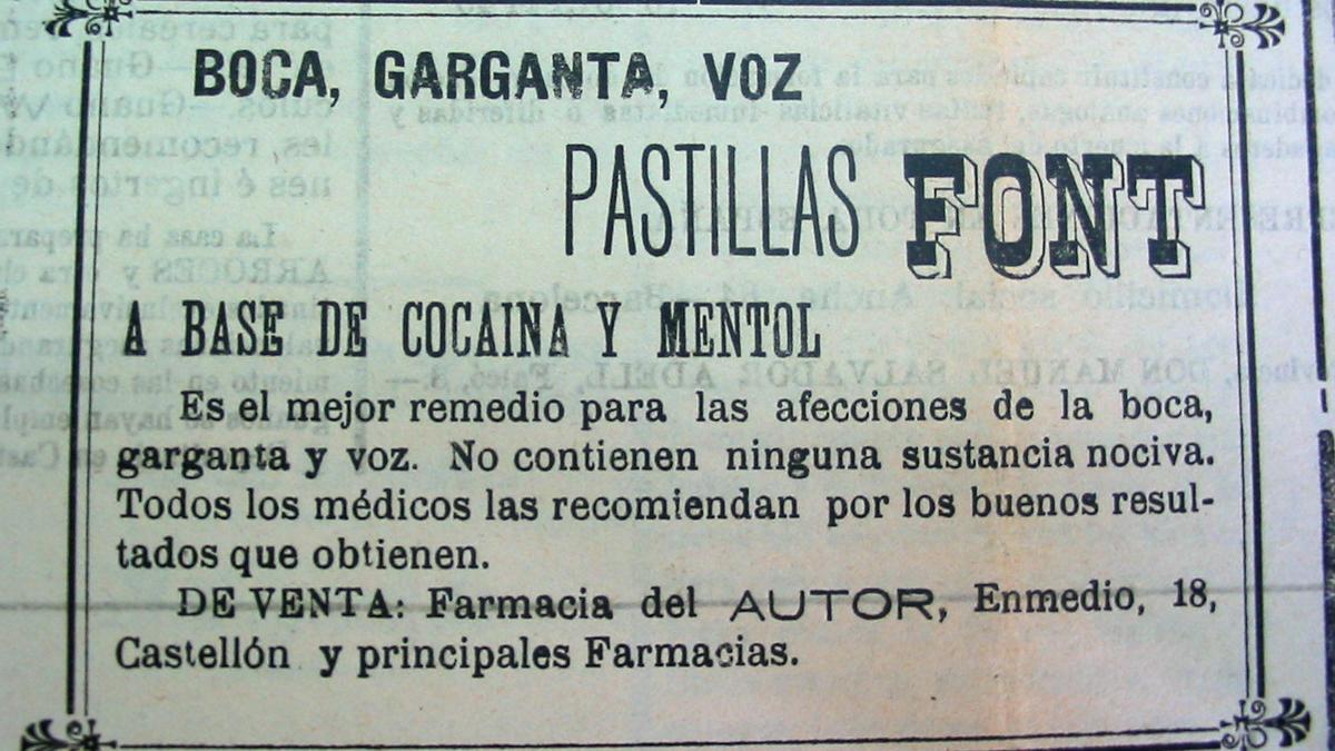 Anuncio en el 'Heraldo de Castellón' de pastillas de cocaína.