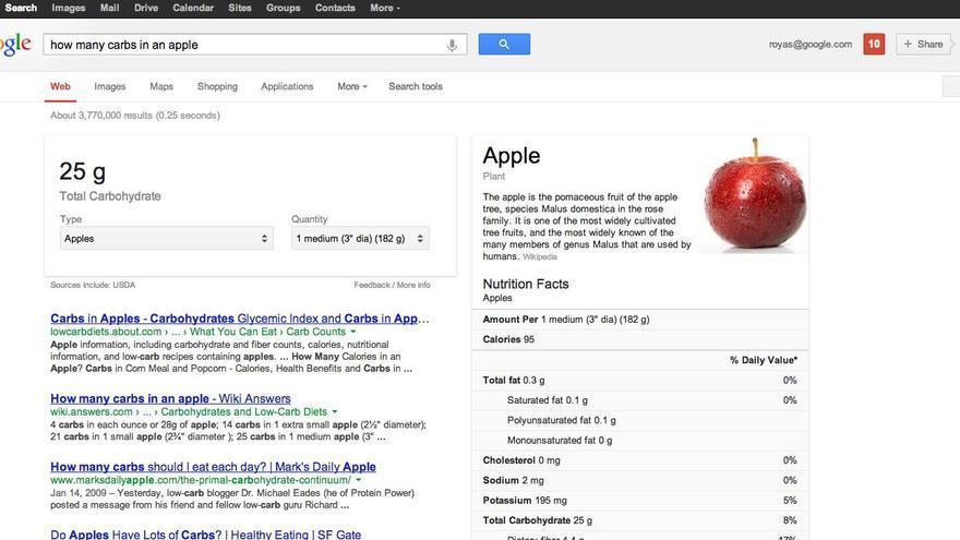 La información nutricional se despliega en la parte superior y derecha de la página de resultados