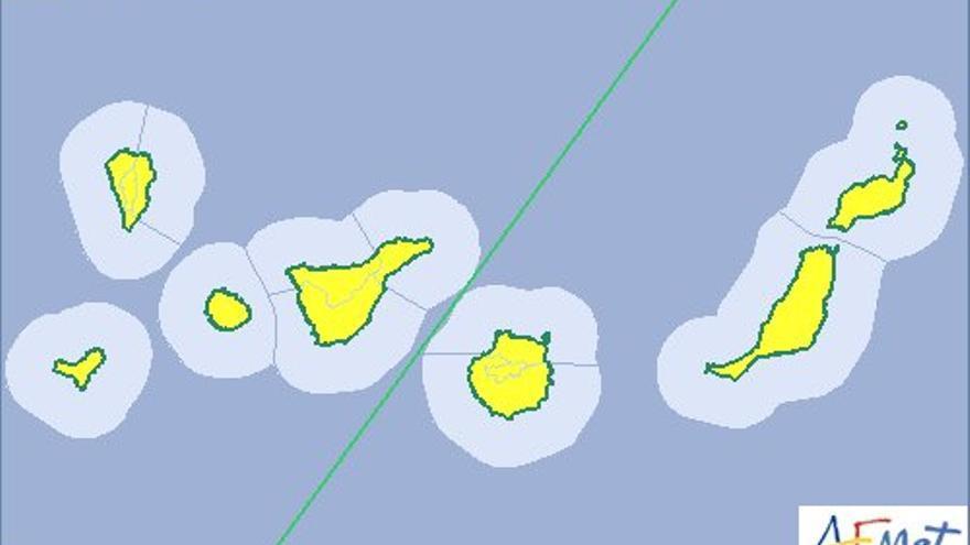 Aviso amarillo en Canarias por vientos y calima