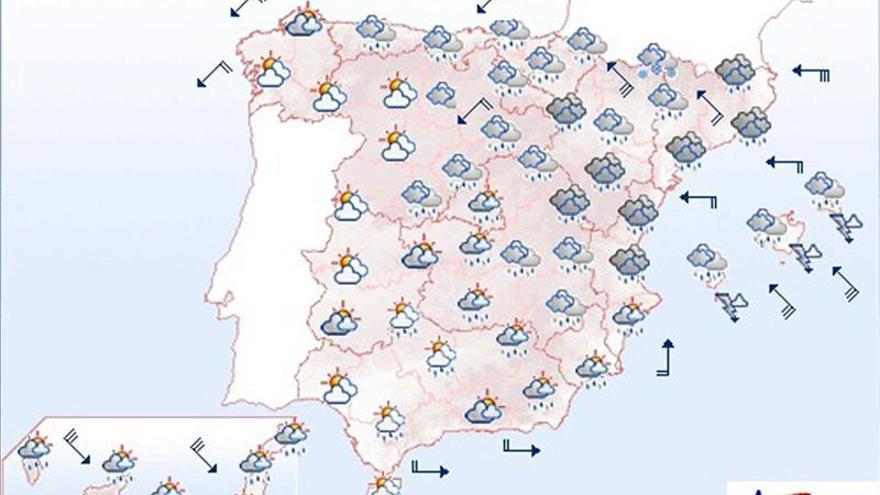 Mañana lluvias fuertes en gran parte de España y con vientos en Canarias
