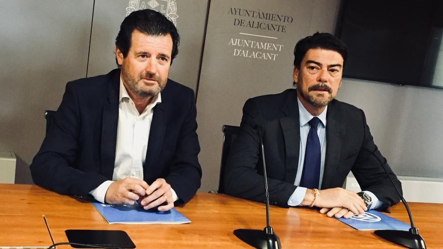 José Císcar, presidente del PP de Alicante, y José Luis Barcala, portavoz municipal