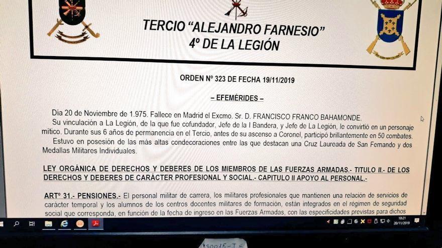 Circular del Tercio Alejandro Farnesio. Imagen ha sido difundida por la plataforma Ciudadanos de Uniforme.