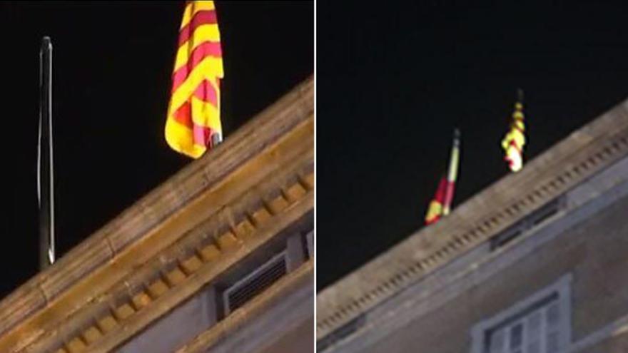 La bandera española ha sido descolgada del Palau y pocos minutos después ha sido restituida
