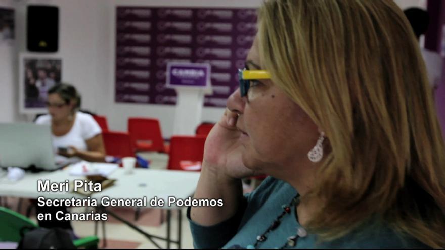 La secretaria general de Podemos en Canarias, Meri Pita, en la noche electoral